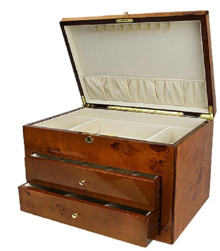 5046a1d0a 2 Drawer & Top Compartment Vintage Lacquered Wooden Jewelry Box