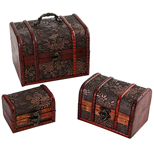 Set of 3 Small Antique Style Jewelry Organizer Chests Storage