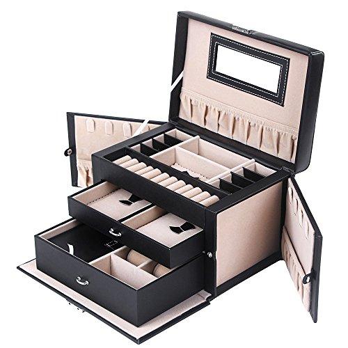 Premium Leather Jewelry Box Travel Case Lockable Jewelry Storage