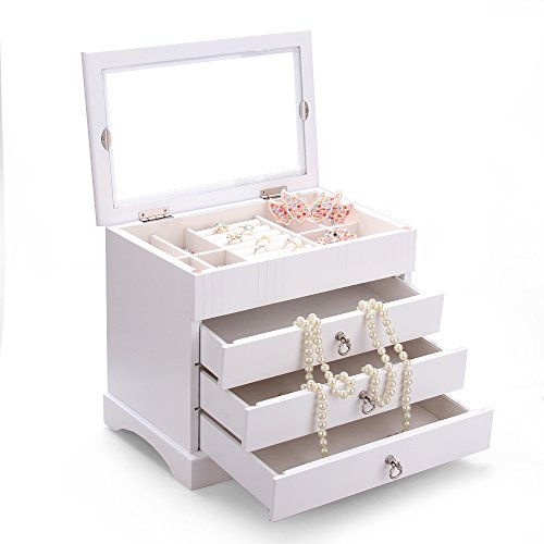 White 3 Drawer Top Container Window Wooden Jewelry Box Organizer