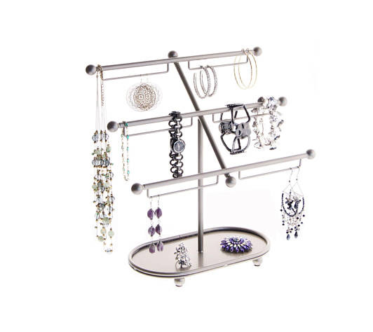 Large Silver Triple Tier Bracelet Holder Stand