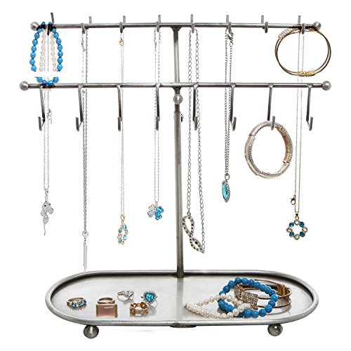 15 Metal Adjustable 24 Hook Jewelry Organizer Necklace Bracelet