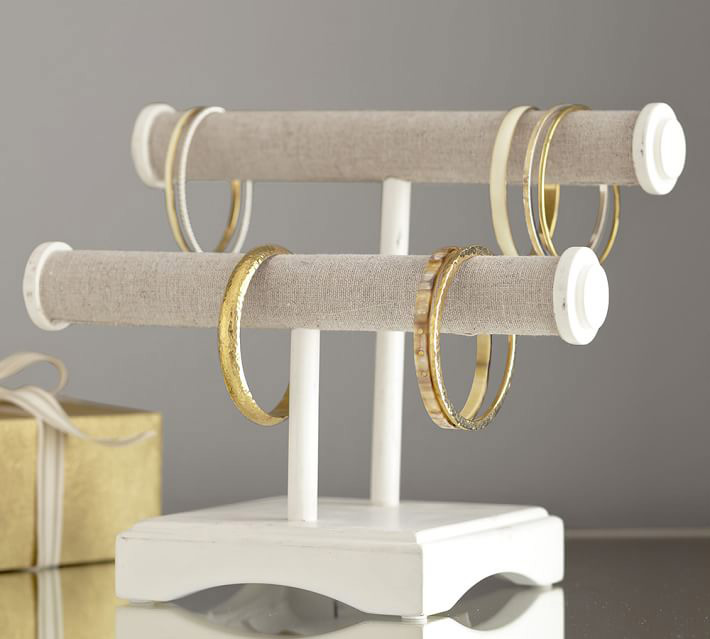 Elegant White Linen Two Tier Bracelet Holder