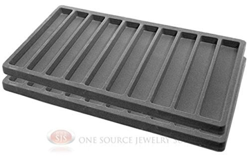 2 x Gray Jewelry Display Insert Tray Liners With 10 Slots Each Zen