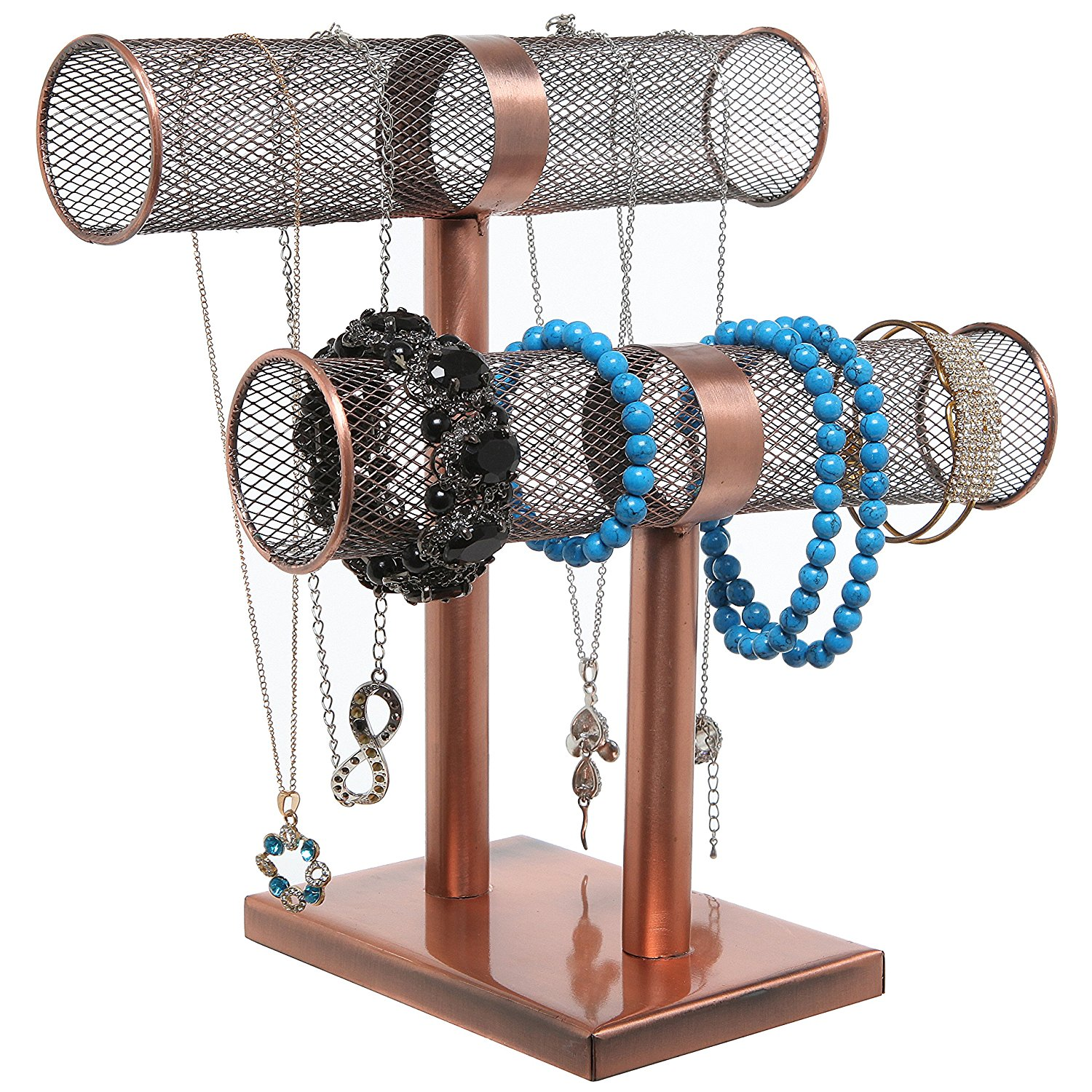 Creative Copper Cylinders T-Bar Shaped Bracelet Holder