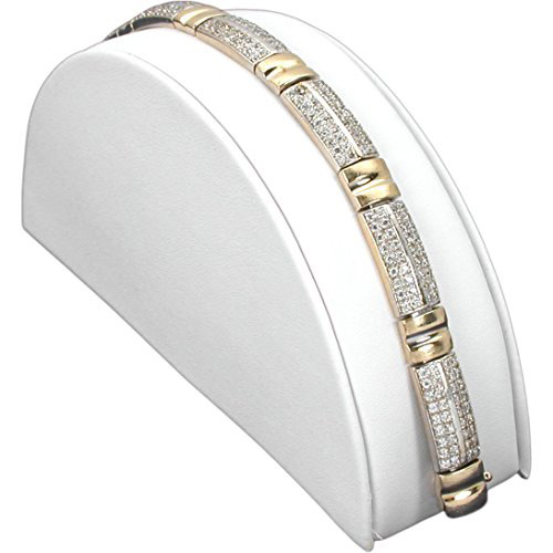 Elegant White Half Moon Leather Ramp Bracelet Holder