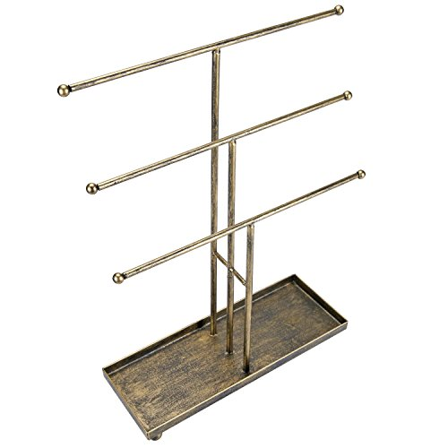 3 Tier Metal Rod Antique Brass TBar Jewelry Organizer Holder
