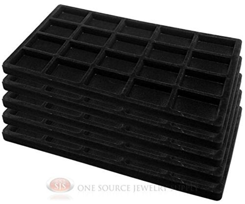 5 x 20 Compartments Black Insert Tray Liners Jewelry Drawer