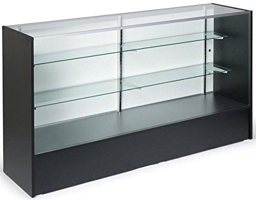 6 Wide Free Standing Gl Display Case With Adjule Shelves Sliding Doors