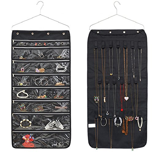 22 Pockets 20 Loops Wall Hanger Jewelry Organizer With Zipper