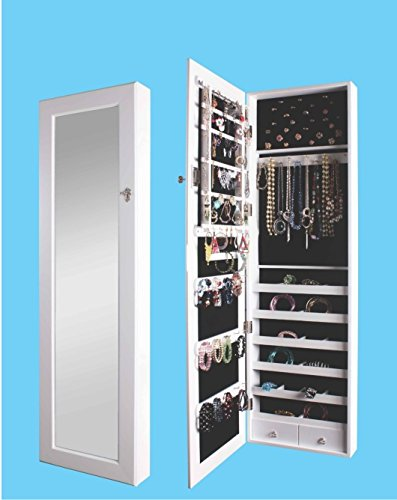 Premium Wooden Wall Mounted Over The Door Mirrored Jewelry Armoire