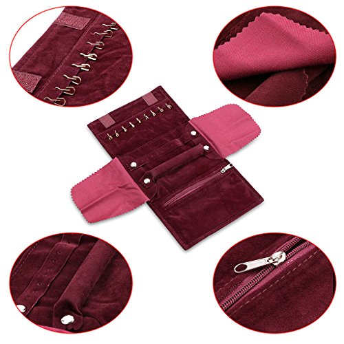 Small Crimson Red Velvet Jewelry Roll Up Travel Bag Pouch