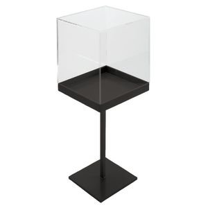 Black Texture Jewelry Display Pedestal With Acrylic Cube Vitrine