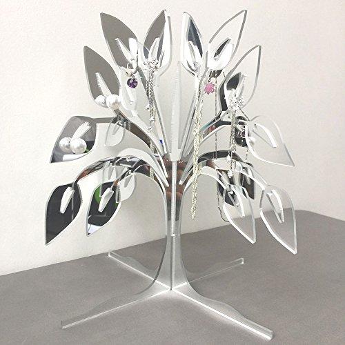 Creative Elegant Mirror Covered Jewelry Tree Stand Zen Merchandiser