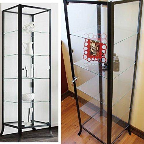 Steel Frame Kitchen Cabinets: Durable Black Steel Frame Glass Display Cabinet & Tower