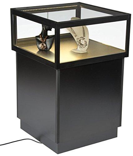 Black Floor Display Case Jewelry Display Pedestal With Locking