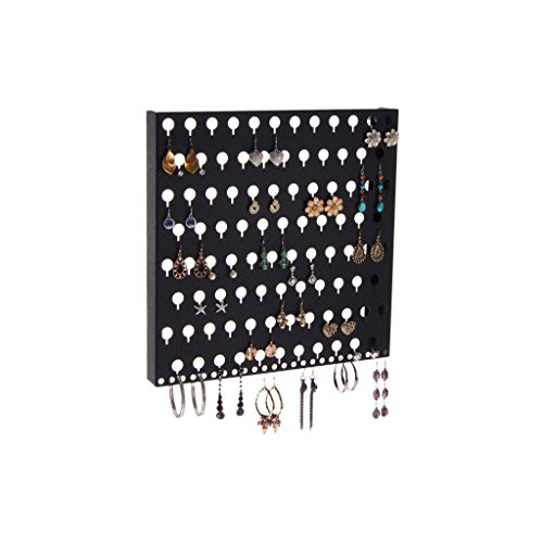 Black Wall Mounted Hanging Jewelry Organizer Display Closet