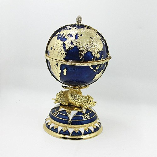 Light Stand For Egg: Globe Shaped Faberge Egg Style Jewelry Box With Gold Stand