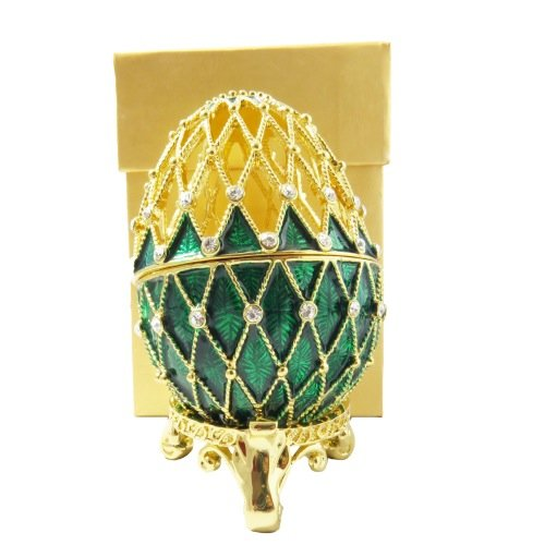 Faberge Style Emerald Green Egg Enamel With Swarovski Crystals