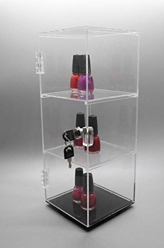 6u2033 x 6u2033 x 16u2033 rotating mini lucite transparent tower jewelry showcase display case