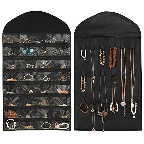 NonWoven 32 Pockets 21 Hooks Black Hanging Jewelry Organizer
