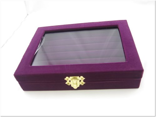 3 x Purple Velvet Jewelry Display Box Ring Display Tray with Glass