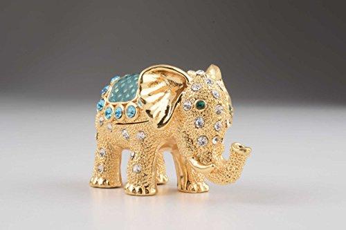 Gold Blue Faberge Styled Elephant Shaped Decorative Jewelry
