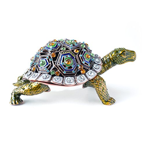 HandPainted Giant Tortoise Shaped Jewelry Trinket Box With Rich
