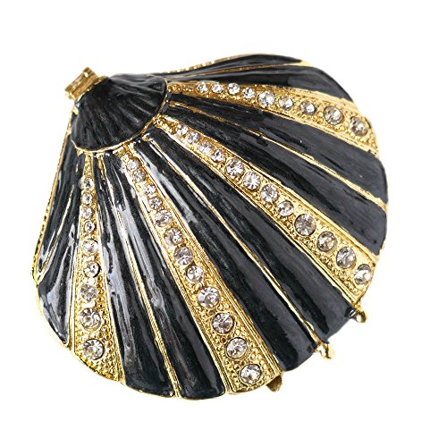 HandPainted Sea Shell Shaped Faberge Style Trinket Jewelry Box