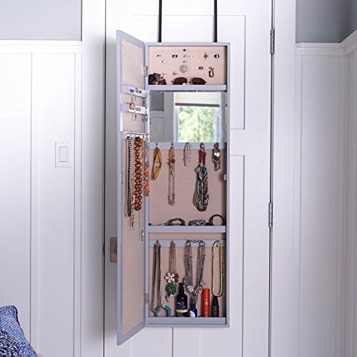 Organizers Wall Mounted Full Length Mirror Door Hanging Jewelry Cabinet Armoire