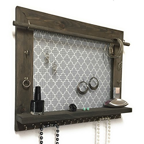 Rustic Barnwood Frame Hanging Jewelry Holder With Shelf Zen
