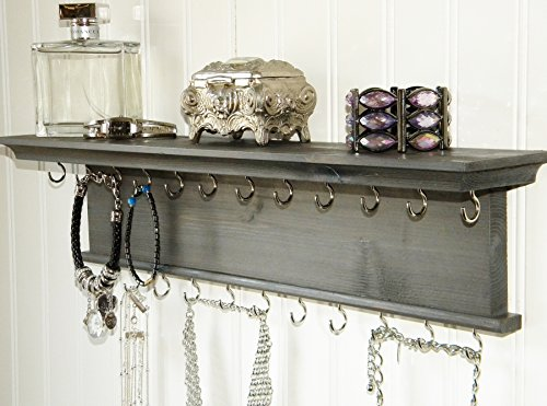 Vintage Wall Mounted Dark Gray Wooden Jewelry Organizer Shelf