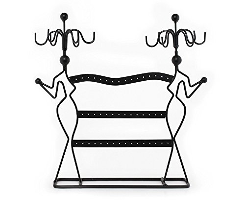 Black Metal Wire Large Jewelry Organizer Stand With Two Lady ...