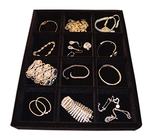 10 Compartment Wood Velvet Drawer Jewelry Tray Organizer for Rings