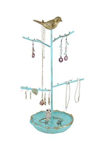 Blue Dish Stand Jewelry Display Tree Organizer With Gold Bird