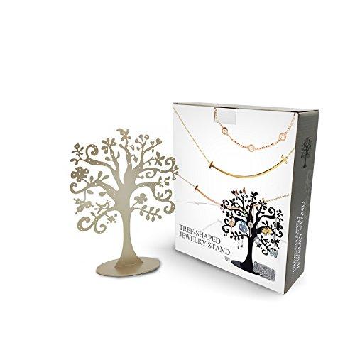 30 Slot Vintage Flat Metal Silver Jewelry Tree Stand Organizer Zen