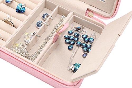 Small Pink Girls Jewelry Travel Box Organizer With Zipper Mirror