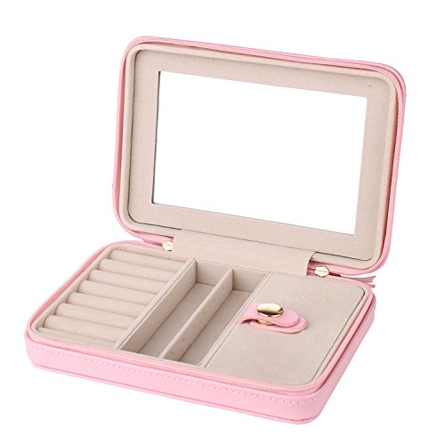 Small Pink Girls Jewelry Travel Box Organizer With Zipper Mirror