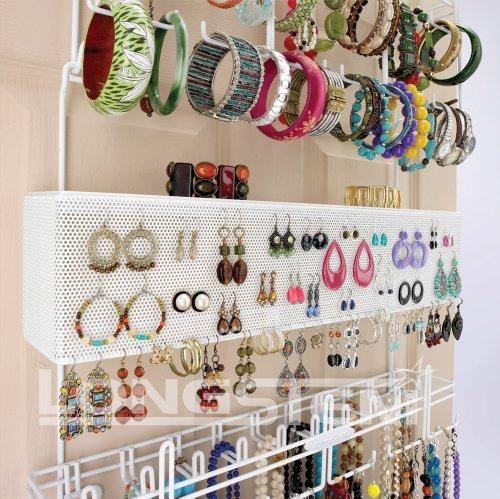 White OverTheDoor Wall Mount Jewelry Rack Holder Organizer Zen