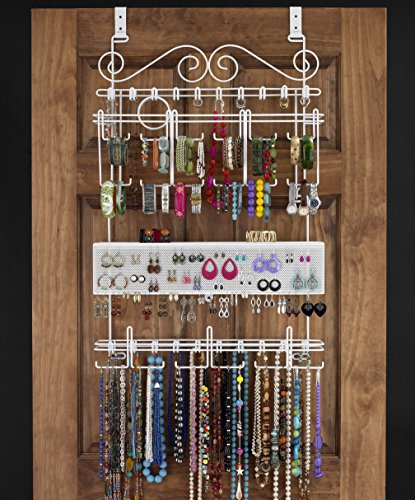 White OverTheDoor Wall Mount Jewelry Rack Holder Organizer Zen