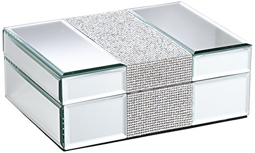 Premium Rhinestone Embossed Mirrored Glass Jewelry Box With Black