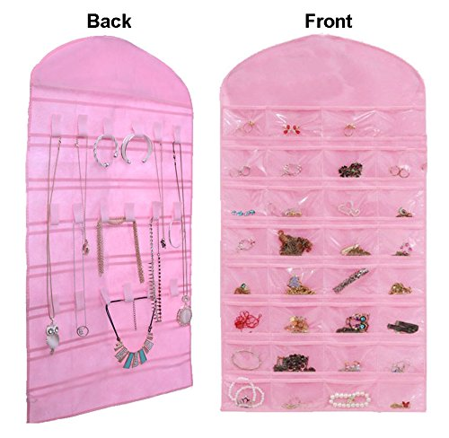 Pink NonWoven 32 Pockets 18 Hooks Hanging Jewelry Organizer Zen