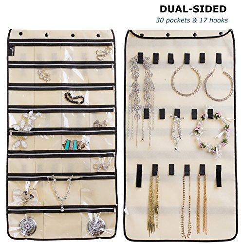 cream black elegant hanging travel over the door jewelry organizer zen merchandiser. Black Bedroom Furniture Sets. Home Design Ideas
