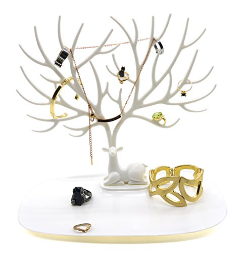 Minimalist White Large Jewelry Tree Holder Stand Antler Shaped Enchanting Large Jewelry Tree Display Stand