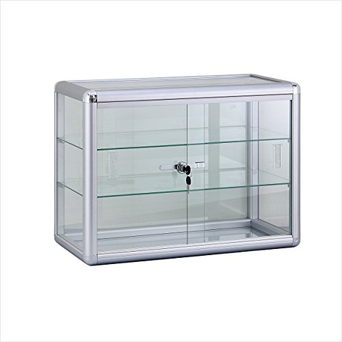 Standard Aluminum Framing Countertop Glass Display Case With Sliding