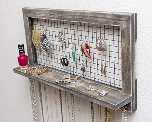 Large Rustic Wooden Wall Mount Jewelry Organizer For Earrings