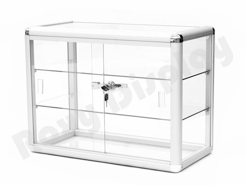 locking silver aluminum frame sliding glass countertop jewelry display case zen merchandiser. Black Bedroom Furniture Sets. Home Design Ideas