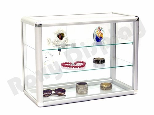 Locking Silver Aluminum Frame Sliding Glass Countertop Jewelry