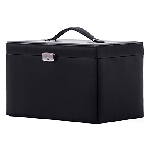 Black Leather Mirrored Lockable Jewelry Box Jewelry Storage