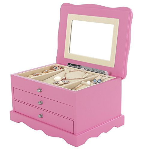 Girls Pink Wooden Jewelry Box Jewelry Case Organizer With Mirror